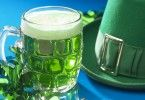 Shamrocks with beer and chapeau