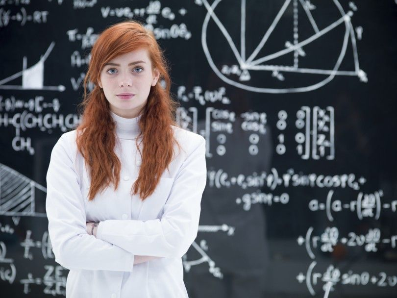 beautiful schoolgirl in laboratory