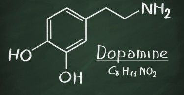 Chemical formula of Dopamine on a blackboard